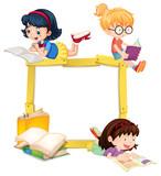 Girls Reading Book Wooden Frame - 209754488