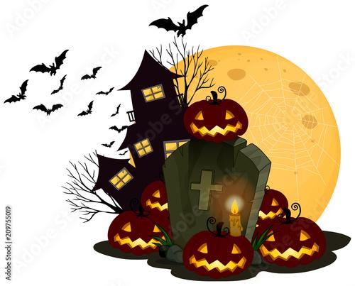 Fotobehang Kids A Spooky Halloween Theme on White Background
