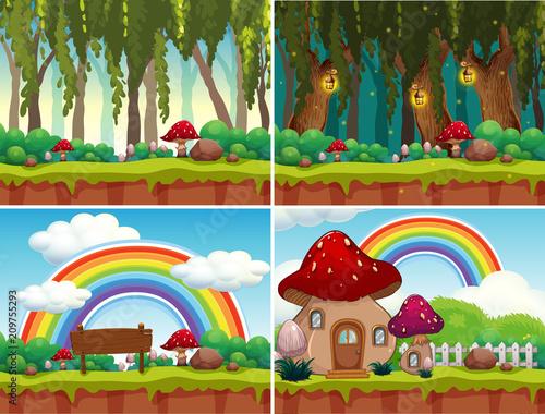 Fotobehang Kids A Set of Mushroom Landscape