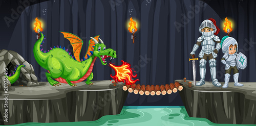 Fotobehang Kids Knights Fight with Dragon in Dark Cave
