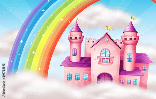 Fotobehang Kids A Beautiful Pastel Castle and Rainbow