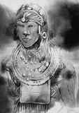 African. Portrait - An hand drawn, painted illustration. Black and White. - 209760259