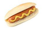 Hot dog with mustard isolated on white background - 209761008