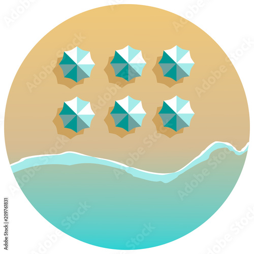 Plażowe parasole linie i oceanu round tło