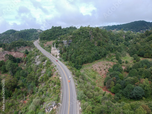 Fotobehang Khaki Aerial view of highway and natural landscape