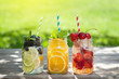 Leinwanddruck Bild - Fresh lemonade jar