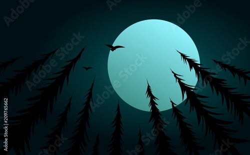 Forest with moon and birds. - 209765662