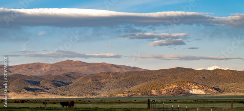 Aluminium Diepbruine Sunset on the ranch near Bridgeport, California