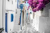 Narrow street with white houses, Greece - 209771264