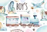 Baby boys world. Cartoon airplane and waggon locomotive watercolor illustration. Child birthday set of plane, and air vehicle, transport elements. isolated baby shower card - 209771880
