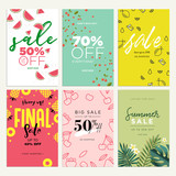 Eye catching summer sale mobile banners, ads and posters collection. Vector illustrations concept for shopping, e-commerce, internet advertising, social media ads and banners, marketing material. - 209772292