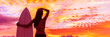 Leinwanddruck Bild - Hawaii surf summer vacation lifestyle. Silhouette of surfer woman at sunset with surfboard on beach. Banner panorama.