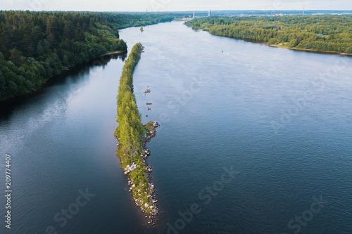 Foto Murales Svir river bird's-eye view, Karelia, Russia.