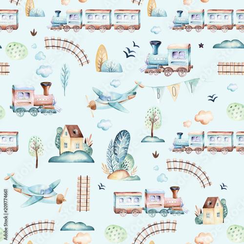 swiat-chlopcow-kreskowka-samolot-samolot-i-waggon-ilustracja-lokomotywa-akwarela-dziecko-zabawki-urodziny-backgraund-transport-elementow-bez-szwu-wzorow
