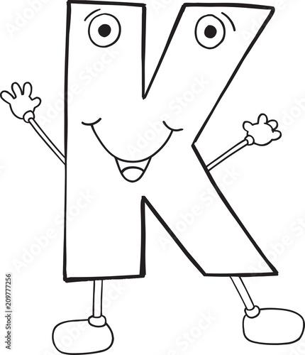 Fotobehang Cartoon draw Cute Happy Letter K Vector Illustration Art