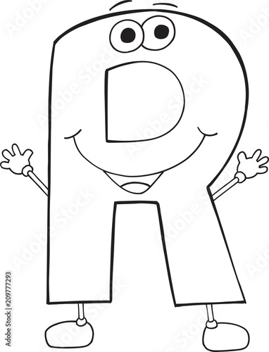 Fotobehang Cartoon draw Cute Happy Letter R Vector Illustration Art