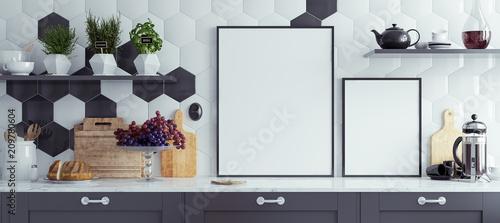 Fototapeta Mock up poster frames in kitchen interior, panoramic background, 3d render