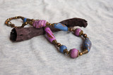 Tender lilac, purple polymer clay necklace bohemian style.Handmade jewelry.Close up. - 209782261
