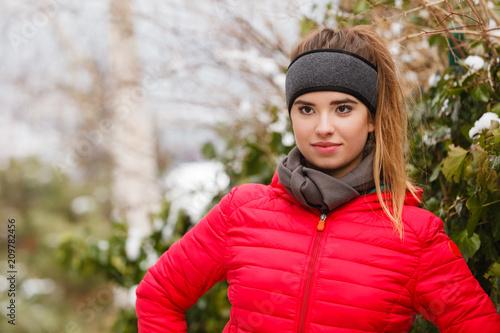 Foto Murales Woman wearing sportswear during winter