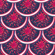 Abstract colorful seamless pattern with round shapes like scales. Creative repeating background. Wrapping, print on clothes, wallpaper. Vector illustration, eps10 - 209784649