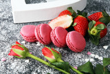 Sweet and colourful french macaroons or macaron with strawberry - 209784834