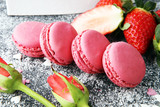 Sweet and colourful french macaroons or macaron with strawberry - 209784857