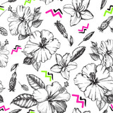 Decorative seamless pattern with ink hand-drawn Tropical hibiscus, magnolia  flowers and leaves. Vector illustration. - 209785282