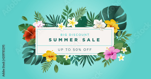 Summer sale. Vector illustration concept for mobile and web banner, poster, online shopping ads, social media and networking, marketing material. - 209785295