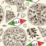 Decorative seamless pattern with round pizza and pieces of pizza. Italian cuisine. Ink hand drawn Vector illustration. Composition of food elements for menu design. - 209785463