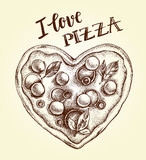 Pizza in the form of a heart. Italian cuisine. Ink hand drawn Vector illustration. Top view. Food element for menu design. - 209785620