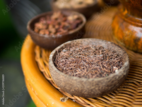 Aluminium Bali Traditional Indonesian or Thailand spices used in spa massage treatment.