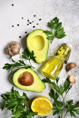 Food background with ingredients for making mexican avocado dip guacamole.Top view.