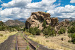 Unused railroad and natural rock formation in Buena Vista, Colorado, USA