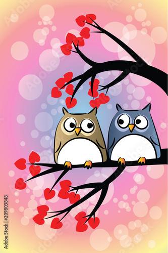 Fotobehang Uilen cartoon owls love vector