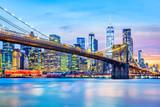 Brooklyn Bridge and the Lower Manhattan skyline at dusk - 209809034