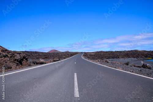Fotobehang Lavendel Long Lonely Road