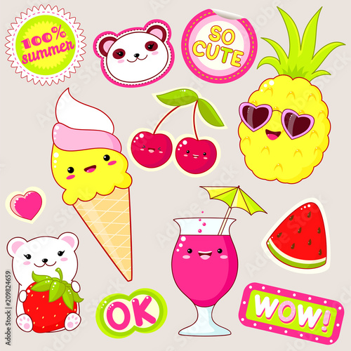 Set of cute summer stickers in kawaii style - 209824659