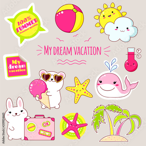 Set of cute summer stickers in kawaii style - 209824665