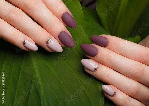 Aluminium Manicure Tender neat manicure on female hands on a background of green leaves. Nail design