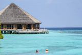 View of vilamendhoo island at the water bungalows side in the Indian Ocean, Maldives - 209825893