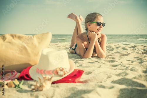 White Girl Teenager Resting on Beach
