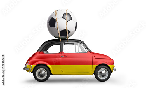 Germany flag on car delivering soccer or football ball isolated on white background - 209830657