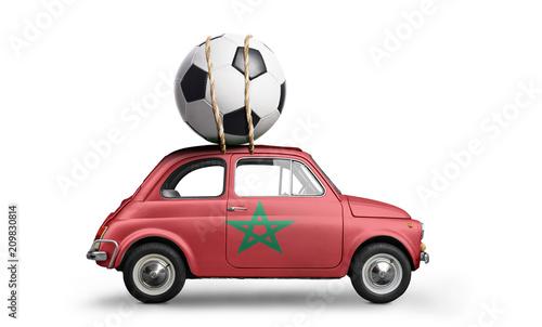 Fotobehang Marokko Morocco flag on car delivering soccer or football ball isolated on white background