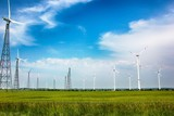 A wind turbine or wind turbine transforms the wind energy into electrical energy - 209832438