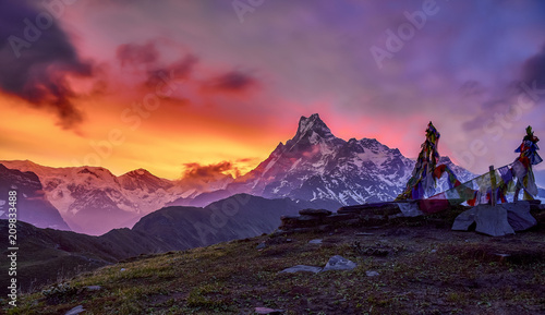 Sunrise In Mardi Hamal Himalays Nepal