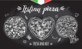 Set of pizzas. Italian cuisine. Ink hand drawn Vector illustration. Top view. Food element for menu design. - 209835416