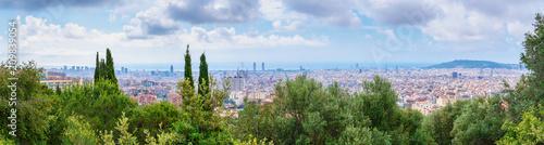 Aluminium Barcelona Barcelona, Spain. Stunning panoramic view on city Barcelona from bird eye view.