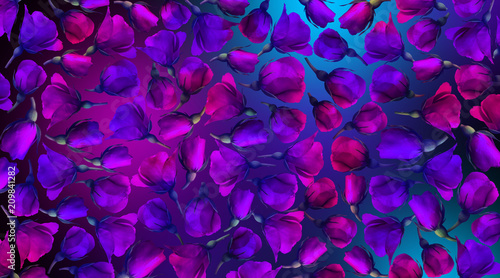 Roses on a dark background, flower pattern, roses with neon - 209841282