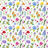 Multi-floral seamless pattern with different flowers. Bright and colorful illustration of a hydrangea, lilac, rose, orchid and other flowers on a white background. - 209841808