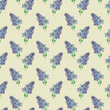 Floral seamless pattern with little flowers of  blue lilac. Art by markers. Imitation of watercolor drawing. - 209842029